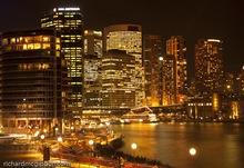 The city lights illuminates Sydney's Circular Quay