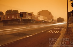 Dust storm blowing through the streets of Dee Why