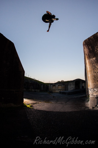Parkour with Bradley Cowl at Middle Head fort, Sydney.