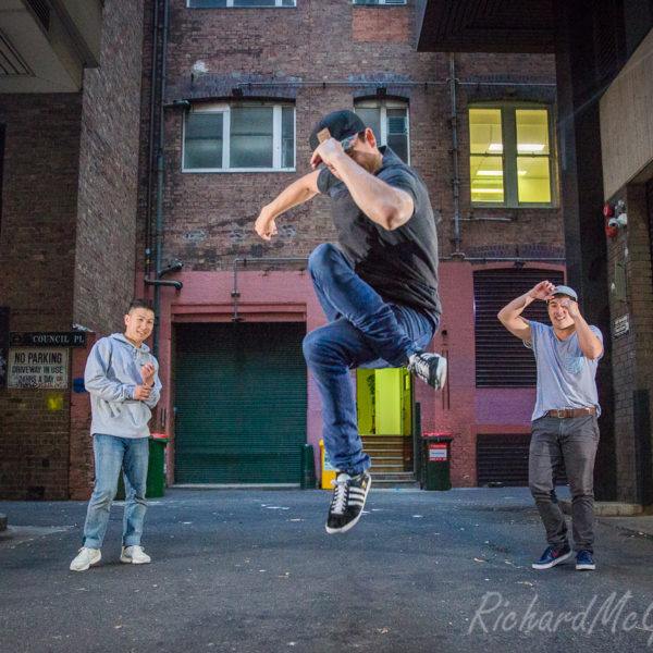 The crew of Cypher Bboys Blue, Stevie G and Akorn