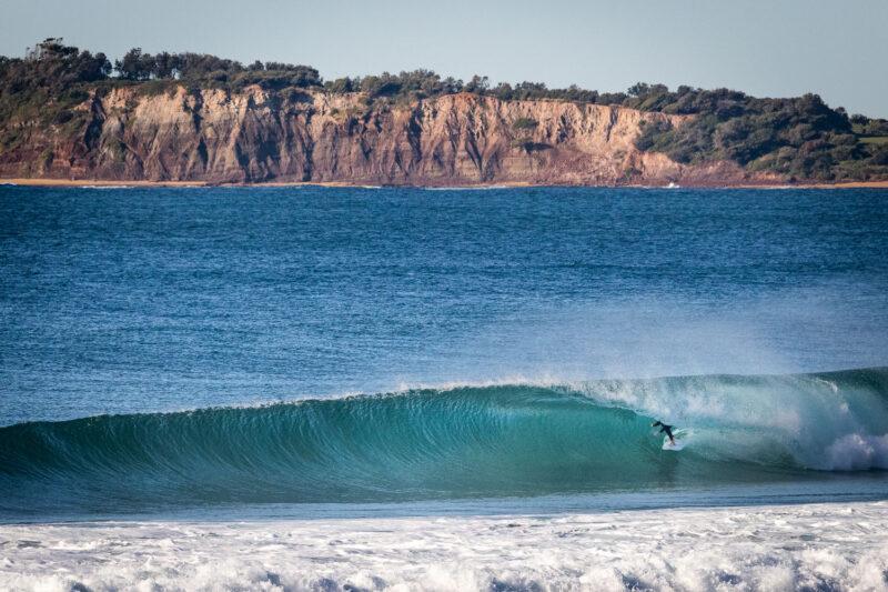 Surfer in barrel at Narrabeen